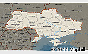Shaded Relief 3D Map of Ukraine, darken