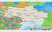 Shaded Relief 3D Map of Ukraine, political outside, shaded relief sea
