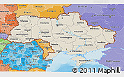 Shaded Relief 3D Map of Ukraine, political shades outside, shaded relief sea