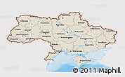 Shaded Relief 3D Map of Ukraine, single color outside