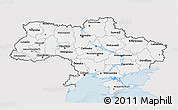 Silver Style 3D Map of Ukraine, single color outside