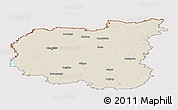 Shaded Relief Panoramic Map of Chernihivs'ka, cropped outside