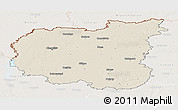 Shaded Relief Panoramic Map of Chernihivs'ka, lighten
