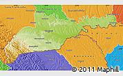Physical Map of Chernivets'ka, political outside