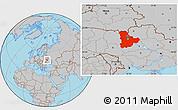 Gray Location Map of Kyyivs'ka