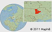 Savanna Style Location Map of Kyyivs'ka, hill shading