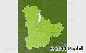 Physical Map of Kyyivs'ka, darken