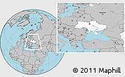 Blank Location Map of Ukraine, gray outside
