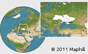 Blank Location Map of Ukraine, satellite outside