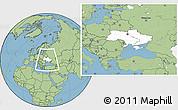 Blank Location Map of Ukraine, savanna style outside