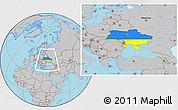Flag Location Map of Ukraine, gray outside
