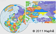 Flag Location Map of Ukraine, political outside