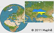 Flag Location Map of Ukraine, satellite outside