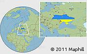 Flag Location Map of Ukraine, savanna style outside