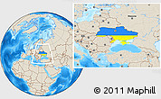 Flag Location Map of Ukraine, shaded relief outside