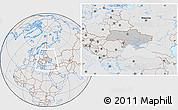 Gray Location Map of Ukraine, lighten, desaturated