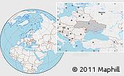Gray Location Map of Ukraine, lighten, land only