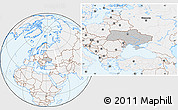 Gray Location Map of Ukraine, lighten