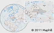 Gray Location Map of Ukraine, lighten, semi-desaturated
