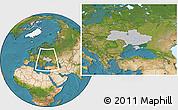 Gray Location Map of Ukraine, satellite outside, hill shading