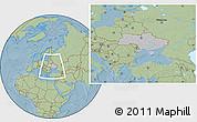 Gray Location Map of Ukraine, savanna style outside, hill shading