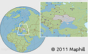 Gray Location Map of Ukraine, savanna style outside