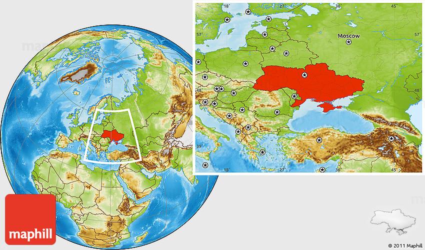 Physical Location Map of Ukraine