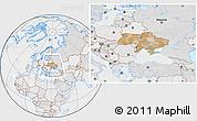 Political Location Map of Ukraine, lighten, desaturated