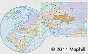 Political Location Map of Ukraine, lighten, land only