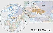 Political Location Map of Ukraine, lighten, semi-desaturated