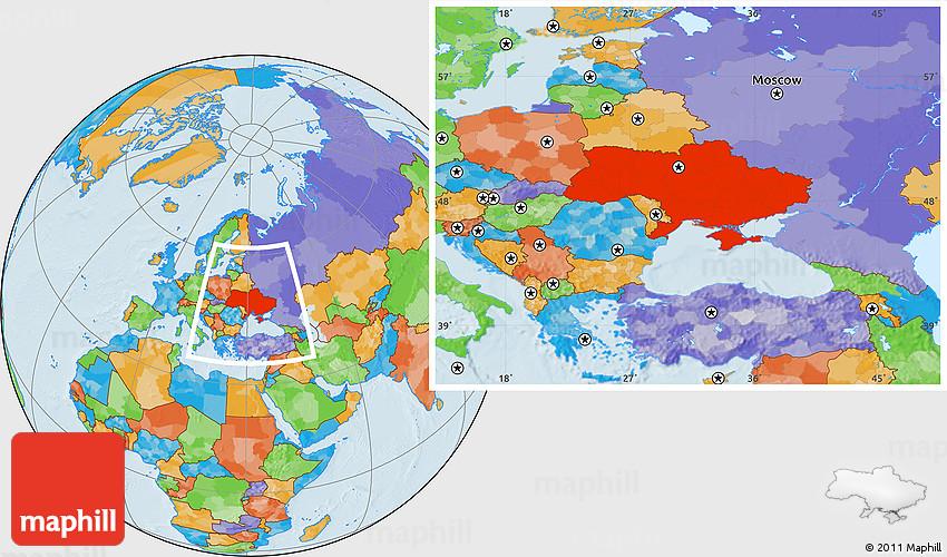 Political Location Map Of Ukraine - Ukraine political map