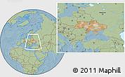Political Location Map of Ukraine, savanna style outside, hill shading