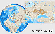 Political Location Map of Ukraine, shaded relief outside