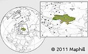 Satellite Location Map of Ukraine, blank outside
