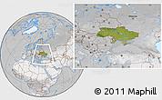 Satellite Location Map of Ukraine, lighten, desaturated