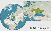 Satellite Location Map of Ukraine, lighten, land only