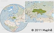 Satellite Location Map of Ukraine, lighten