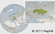 Satellite Location Map of Ukraine, lighten, semi-desaturated