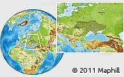 Satellite Location Map of Ukraine, physical outside
