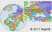 Satellite Location Map of Ukraine, political outside