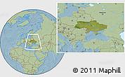 Satellite Location Map of Ukraine, savanna style outside, hill shading