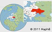 Savanna Style Location Map of Ukraine, highlighted continent