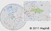 Savanna Style Location Map of Ukraine, lighten, desaturated