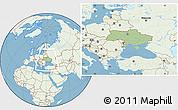 Savanna Style Location Map of Ukraine, lighten, land only