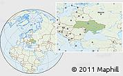 Savanna Style Location Map of Ukraine, lighten