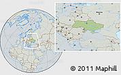 Savanna Style Location Map of Ukraine, lighten, semi-desaturated