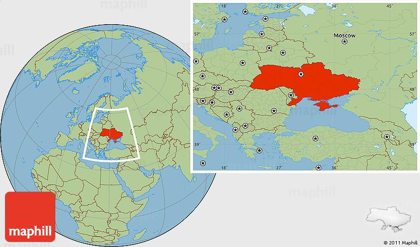 Savanna Style Location Map of Ukraine