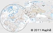 Shaded Relief Location Map of Ukraine, lighten, desaturated