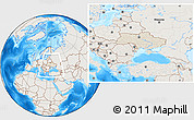 Shaded Relief Location Map of Ukraine, lighten, land only
