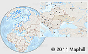 Shaded Relief Location Map of Ukraine, lighten